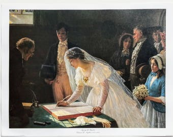 Vintage UNFRAMED Fine Art Print, Signing the Register by Edward B Leighton, Marriage Art, Wedding, Love, Medieval, Regency, Victorian