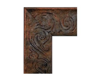 Wide Stamped Copper Picture Frame, Photo Frame Copper Petina, Wood, 8x10 11x14 16x20 17x20 18x24 20x24 24x30 24x36, Bronze, Weathered
