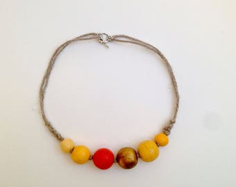Jewelry Yellow necklace Wooden beads necklace Ecofriendly gift Designer necklaces Natural necklace Rustic necklace Summer necklaces