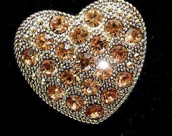 Liz Claiborne Brooch / Rhinestone Brooch / Heart
