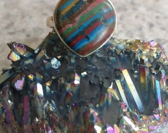 Heart - Rainbow Calsilica Party Ring  Size 7 1/2