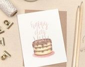 Happy Day, Happy Birthday Card, Watercolor Birthday Cake Illustration, Hand lettered, Pink, Gold Painted, Birthday Candles, Chocolate, Girl