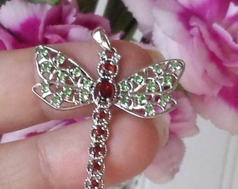 14k Dragonfly Pendant White Gold Dragonfly Gemstone Pendant
