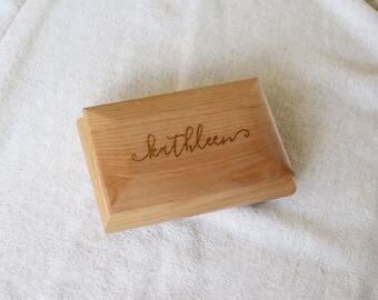 Personalized Jewelry Box, Personalized Keepsake Box, Custom Jewelry Box, Custom Keepsake Box, Red Alder Jewelry Box --KS-WOOD-kathleen