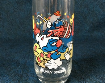 Vintage 1983 Hardee's Clumsy Smurf Promotional Glass