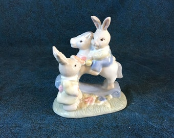 Vintage Ceramic Bunny Riding a Rocking Horse Figurine, Easter Collectible