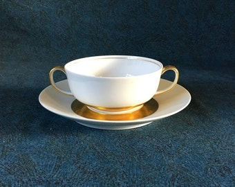 Vintage Limoges Ceralene Anneau D'Or Cream Soup Bowl and Underplate