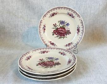 Vintage Georges Briard Colonial Rose Salad Plates, Set of 4
