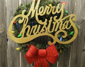 Vintage Style Light-up Christmas Front Door Wreath