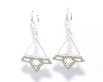 Earrings grey weaving beads miyuki