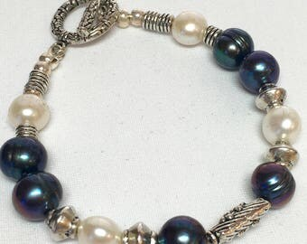 Multicolored Purple/Blue and White Fresh Water Pearl Bracelet