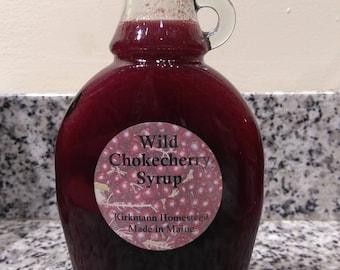 Wild ChokeCherry Syrup - 8 oz glass bottle - Kirkmann Homestead - yogurt/pancake syrup. Made in Maine - Tastes like Elderberries!