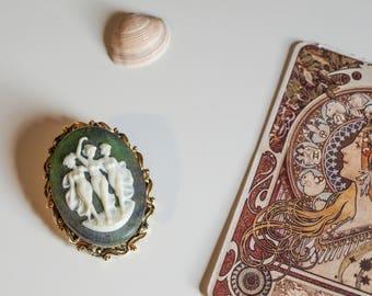 Vintage Cameo Brooch, Three Graces, Costume Jewellery