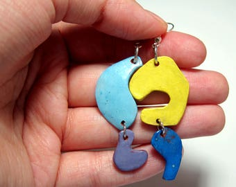Colorful Ceramic Earrings //Perfect for someone that likes handmade gifts//Cute and Clay