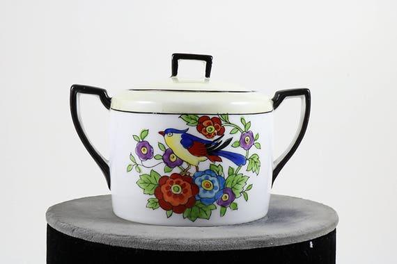 Noritake Sugar Bowl-Noritake Bowl-Noritake Sugar Bowl Bird Pattern-Noritake Marked Bowl-Noritake Porcelain Bowl-Japanese Sugar Bowl