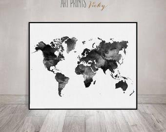 World Map Watercolor Print, Travel Map, Large World Map, Minimalist World  Map,