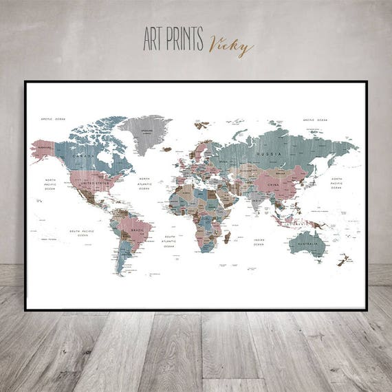 Large wall art World map art poster Detailed world map