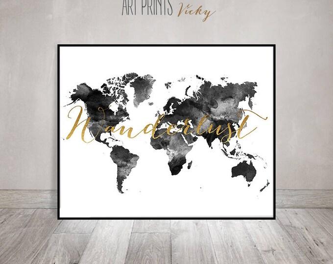 wanderlust world map poster black & white | ArtPrintsVicky.com