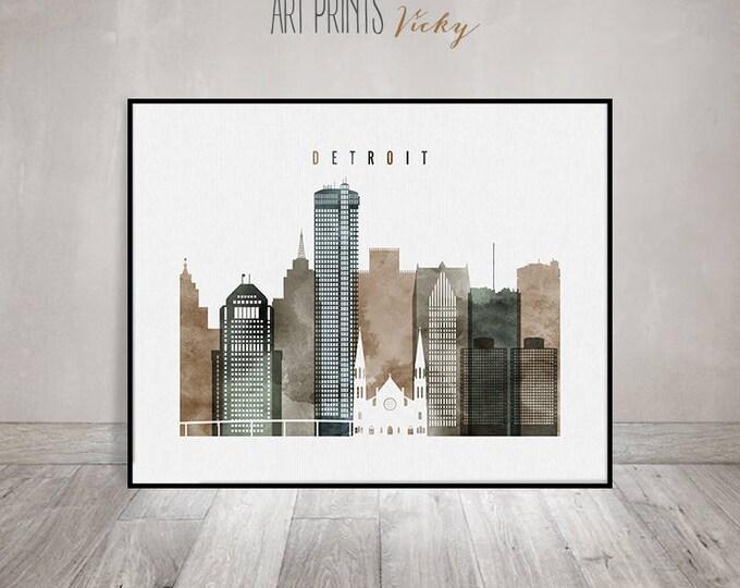 Detroit wall art, print, poster, Detroit skyline, watercolor print, travel, city print, Michigan, Gift, Home Decor, ArtPrintsVicky.