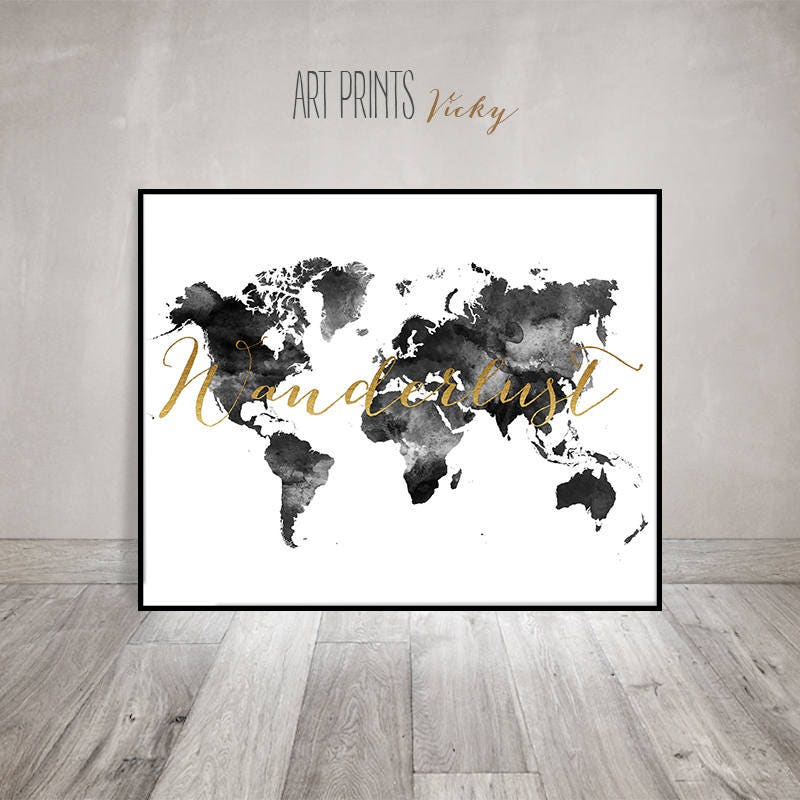 Wanderlust world map poster black white artprintsvicky gumiabroncs