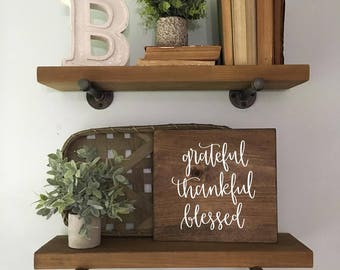 Grateful Thankful Blessed - Wood Sign