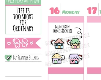 Munchkins -  Home Sweet Home House Hunting, Renovations, Mortgage, Visits, Etc Planner Stickers (M380)
