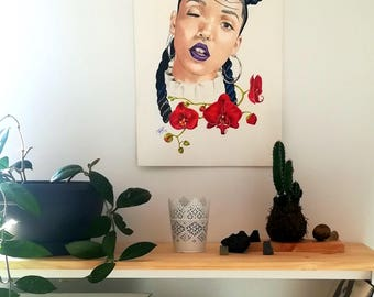 Illustration, girl, flowers, portrait, cool girls, ilustración, original, wall decor, home decor, wall decor