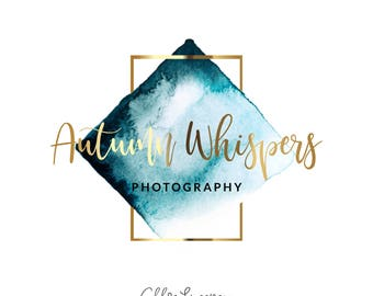 Watercolor Logo, Gold logo, Logo Design, Logo, Premade Logo, Photography Logo, Watermark Logo
