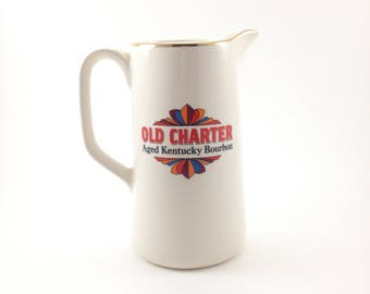 Vintage Ceramic Pitcher, Old Charter Distillery Co., Aged Kentucky Bourbon, 1970s, Made in England