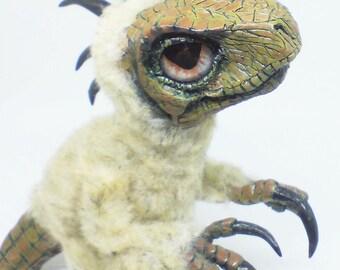 Dinosaur Hatchling Soft sculpture, OOAK Velociraptor Hatchling sculpture, Dinosaur sculpture, velociraptor statue, raptor hatchling