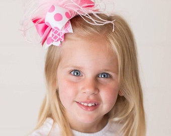 Over The Top Hair Bow, Pink Over The Top Hair Bow, Baby Over The Top Bow, Girls Hair Bow ,Over The Top Baby Headband