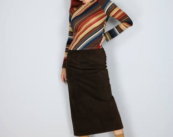 """1980s Skirt - Suede Midi Pencil Skirt - Leather - Chocolate Brown - Fall Winter Skirt - Dark Brown - High Waisted - Size Small 26"""" Waist"""