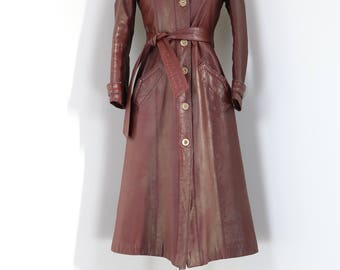1970s Leather Trench Coat - Deep Burgundy Long Leather Trench Coat -XS/S - Quilted Lining - Wool Tweed Trim - Warm Winter Coat