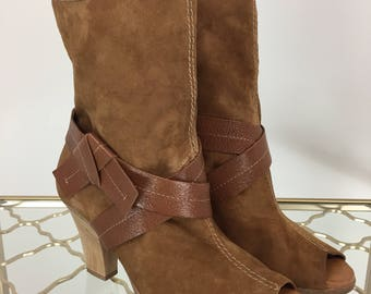 "1990s Peep Toe Booties - Caramel Brown - Boho - Leather Strap Wrapped Shooties - 3"" Bamboo Heel - Size 7.5 W - Earth Friendly Bamboo Heel"