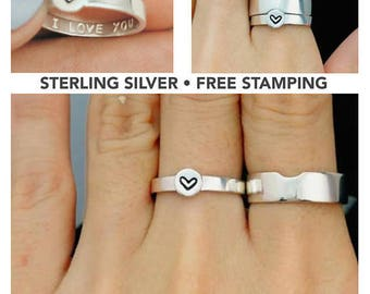 Matching Promise Rings, His and Her Promise Rings, Promise Rings For Couples, Couple Ring Set, Gift For Him, Personalized, Girlfriend Gift