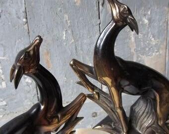 Statue de biches Signées Serre - livres Art Deco  sur marbre