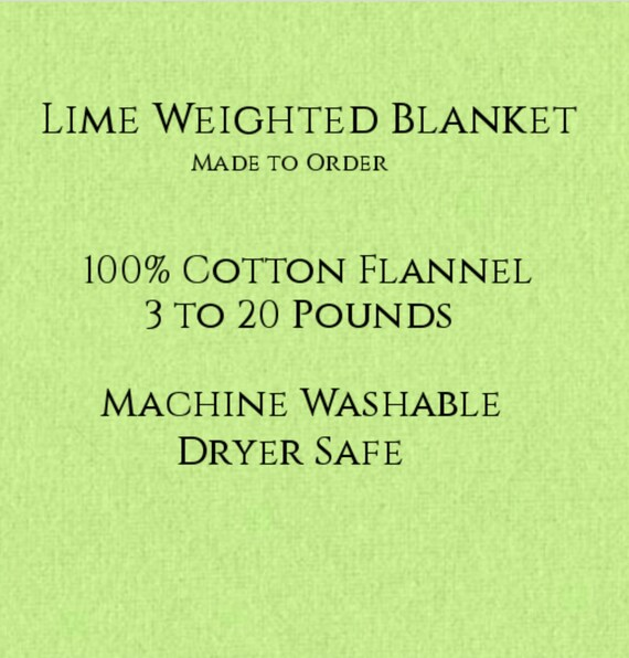 Solid Color, Weighted Blanket, Lime, Up to Twin Size 3 to 20 Pounds.  Calming, Heavy Blanket, SPD, Autism, Weighted Blanket.