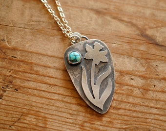 Daffodil Turquoise & Silver Pendant | Necklace