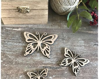 Set of 3 small butterflies wooden raw 3mm thick