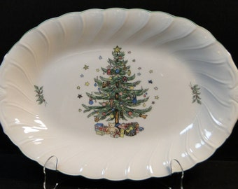 "Nikko Happy Holidays Oval Serving Platter 14"" EXCELLENT!"