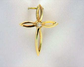 10 kt Yellow Gold Diamond Cross Pendant