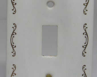 Vintage Porcelain Ceramic Switch Plate Cover, White and Gold Vintage Outlet Cover