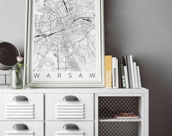 Map of Warsaw, Poland - Fits IKEA frame - Home Decor - Wall Art - Wanderlust - Warsaw Print - Travel Map - Housewarming Gift - Gift for Him