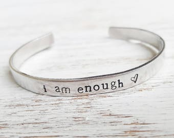 I Am Enough | Inspiration Yoga Gift Inspirational Stamped Bracelet | Mindfulness Gift Hand-Stamped Cuff Bracelet Yoga Bracelet Gift