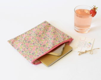 Zipper pouch , cosmetic bag , floral clutch , teacher's gift , liberty clutch , pastel pink , liberty of london , flowers