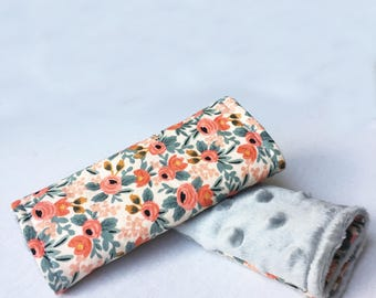 Car Seat Strap Covers-Reversible-Peach Rosa Floral w/ Grey Minky Dot