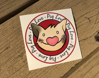 "Vinyl Decal Cute Little Pig ""Pig Love"" Piggy Die Cut Art Indoor/Outdoor Sukoshi Buta Mini Pig Pigxel Art"