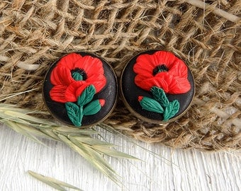 Beauty Gift  for mum Clips earrings Floral earrings poppies Round earrings red black earrings Polymer clay earrings fashion jewelry