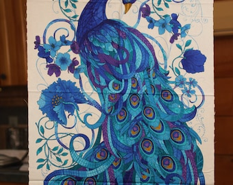 """Peacock fabric panel by """"Timeless Treasures.  """"Mosaic Plume,"""" by Chong-A Hwang.  Companion fabric available."""