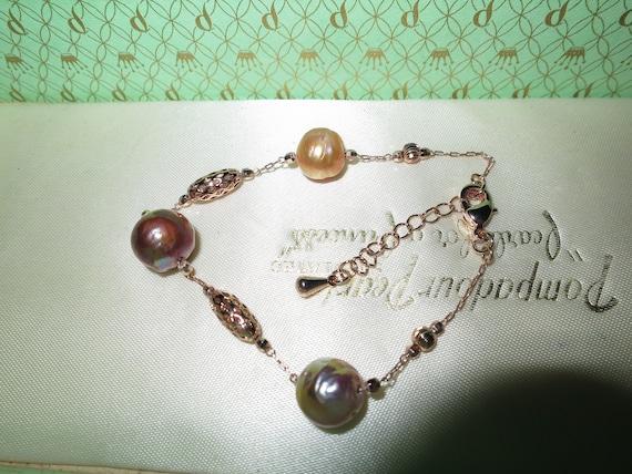 Lovely new handmade genuine cultured Kasumi freshwater coppery rainbow pearl bracelet